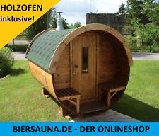 MONTIERT! Fasssauna, Sauna, Gartensauna mit Holzofen 20 Pro u. BImSchV-Kit! WOW!