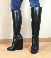 High Heels Wedges Knie Stiefel Damen Männer Boots EU42 UK8 US11 13cm Absatz