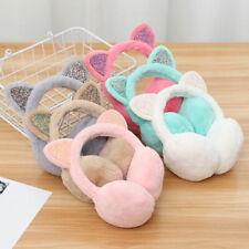 7 Colors Cat Ear Faux Fur Fluffy Glitter Sequin Earmuffs Winter Ear Warmer Girls