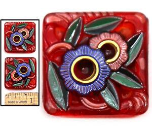 25mm Vintage Czech Glass CRANBERRY Art Deco Painted Flowers SQUARE Buttons 2pc