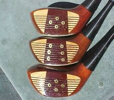 Lot of 3 PERSIMMON Wood EAGLE Golf Clubs Drivers in Steel & Titanium New Grips
