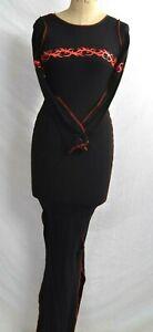 Spanki Black Red Tribal Strap Dress Jersey Pink Long Deadstock K2K  S/M