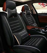 Full Set 5 Seats Car Seat Cover Front+Rear Linen Cushion W/Neck Lumbar Pillow