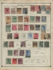 $Straits Settlements+Malaya States stamp collection on album pages, mix. cond.