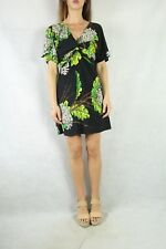 CHARLIE BROWN Black Green Floral Print Jersey Dress Size 8 NWT