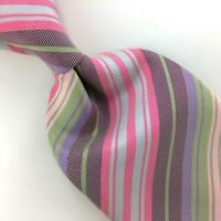Hermes Paris Tie FranceMade Woven Pink Brown Striped Necktie Luxury Silk Ties L4