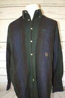 Tommy Hilfiger Vintage Men's Tri-Color Stripe Long Sleeve Button Shirt Size L