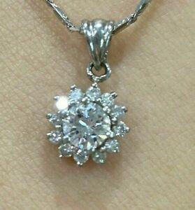 Platinum Diamond Pendant GVS Centre dia:30pts plust 12x1pts
