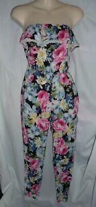 Abercrombie Kids Floral print strapless one pc pants romper jumpsuit Sz M Girls