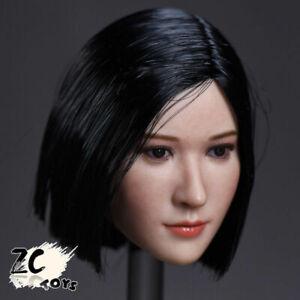 ZCTOYS 1/6 Soldier T-06 Asian Beauty Head Sculpt B Black Short Hair Female Toys