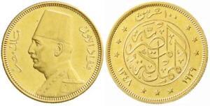 EGYPT , GOLD 100 PIASTRES KING FUAD FOUAD 1929 UNC ( SM ) , RARE