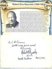 Robert Rice Reynolds Autograph North Carolina Senator Chairman Military Affairs