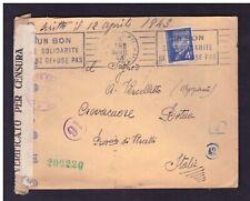 Busta Francia per Italia 4 fr. Maresciallo Petain  1943 Censura Tedesca WE796