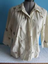 Womens Onque Casuals Top Tan W/ Palm Tree Design Size Large