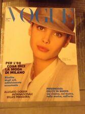 VOGUE ITALIA N°454 1988 ARMANI BYBLOS MAX MARA VERSACE FERRAGAMO FASHION VINTAGE