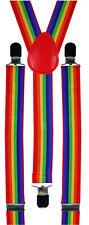 Rainbow Gay LGBT Pride Braces Suspenders Carnival Festival Fancy Dress Costume