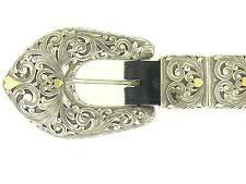 Clint Orms Handmade Belt Buckle Sterling Silver & Gold Hearts HUGE!