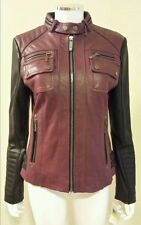 NWT MICHAEL KORS Burgundy Black Leather Colorblock Motorcycle Jacket Size M $430