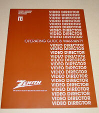 Zenith Operating Guide & Warranty Manual VR8900W VCR Beta Video Director