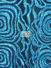 ELEGANT FORMAL SEQUINS DRESS FABRIC - Turquoise - WEDDING GOWN TRENDY FASHION