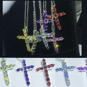 6 Colors 925 Sterling Silver 5A Cubic Zirconia Cross Pendant Necklace Women Gift