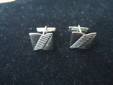 """Vintage Silver Tone 5/8"""" Square Cuff Links with Diagonal Ridged Center"""