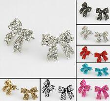 Resin bow Rhinestone  C/R/B/P/G/black stud earrings