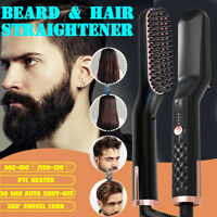 3in1 Electric Quick Heated Beard Straightener Brush Hair Comb Curling Unisex