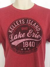 Lake Erie Kellys Island Men's Large Short Sleeve Red Shirt 50/50 Retro Vintage