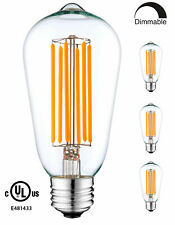 YUURTA ST64 LED Filament Vintagage Edison Bulb Dimmable 2200K Warm White 3-pack