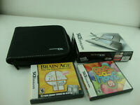Nintendo DS Handheld System Gray With 2 Games And Case Tested Working