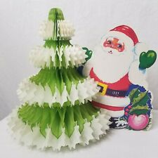 Vintage Die Cut Santa Honeycomb Christmas Tree Holiday Centerpiece Denmark