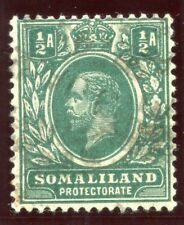 Somaliland 1912 KGV ½a green (wmk inverted) very fine used. SG 60w.