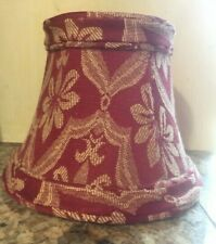 Bell chandelier lamp shade clip 4 inch red gold fabric lined