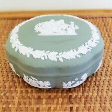 "Vintage Wedgwood Celadon Green Jasperware 5"" Candy/Trinket Dish with Lid"