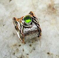 Peridot Stone Solid 925 Sterling Silver Band Meditation Statement Ring Size M415