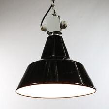 Alte Industrie Lampe Schwarz Weiß Emailliert Ketten Pendel Leuchte 40er 50er