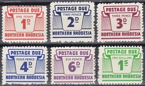 Northern Rhodesia: 1963, Postage Dues SG D5 - D10, MNH