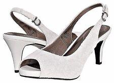 """Life Stride Teller platform pumps sandals white lace 3.5 """" heels sz 8.5 Med NEW"""