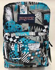 NEW Jansport Superbreak Mammoth Blue Street Scene Grey Backpack Bag w/ Tags