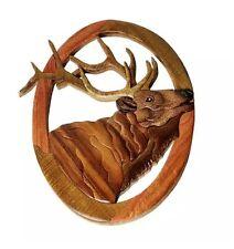 Elk Head Wapiti Deer Intarsia Wood Wall Art Home Decor Plaque Lodge New