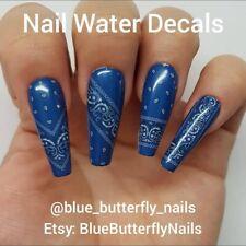 1163 - Blue Paisley Bandana Bandanna Nail Water Decals