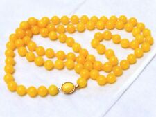 CHINESE VINTAGE Yellow JADE 8mm BEAD NECKLACE, SILVER CLASP,  66 grams