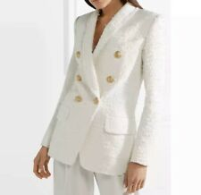 Tweed Balmain Style Jacket With Lion Buttons, White, Size M (8-10)