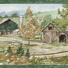 Golden Fall Colors Farm Scene - ONLY $9 - Wallpaper Border A358