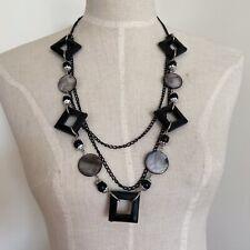 geometric Chain Long Statement Necklace Vintage 1990s 90s Black bead
