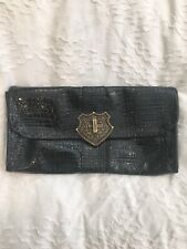 Samantha Thavasa Embossed leather clutch black brass chain patent