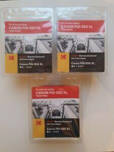 3 x Kodak Canon PGI-550 XL Twin Pack Black Remanufactured Ink Cartridges (6 Tot)