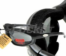 Curv-Z Small Insulated Motorcycle Skydive Glasses Black Frame Smoke Lens 02-14