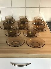 Arcoroc France Vintage Smoked Brown Glass 8 Coffee/ Tea Cups & 10 Saucers